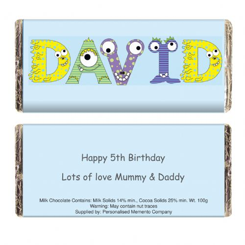 Personalised Monster Alphabet Choc Bar